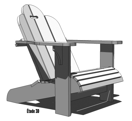 Fauteuils adirondack tirilly compagnie for Chaise 3d dessin